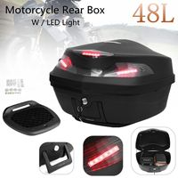 Universal 48L Motorcycle Scooter Top Box Tail Luggage Storage Case w/LED Light Rear Trunk Carrier