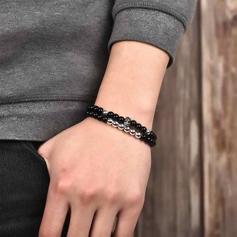 Jiayiqi grânulos de pedra natural homens pulseiras crânio charme pulseira jóias masculinas gótico viking bijoux 2pcs