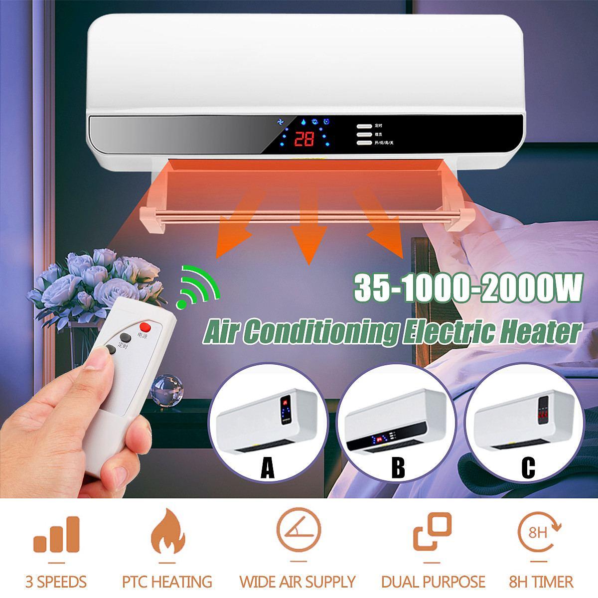 220 V 2000 W Dinding Remote Control Pemanas Rumah Hemat Energi Pemanas Pemanas Kipas Kamar Mandi Mandi Air Panas pemanas Udara