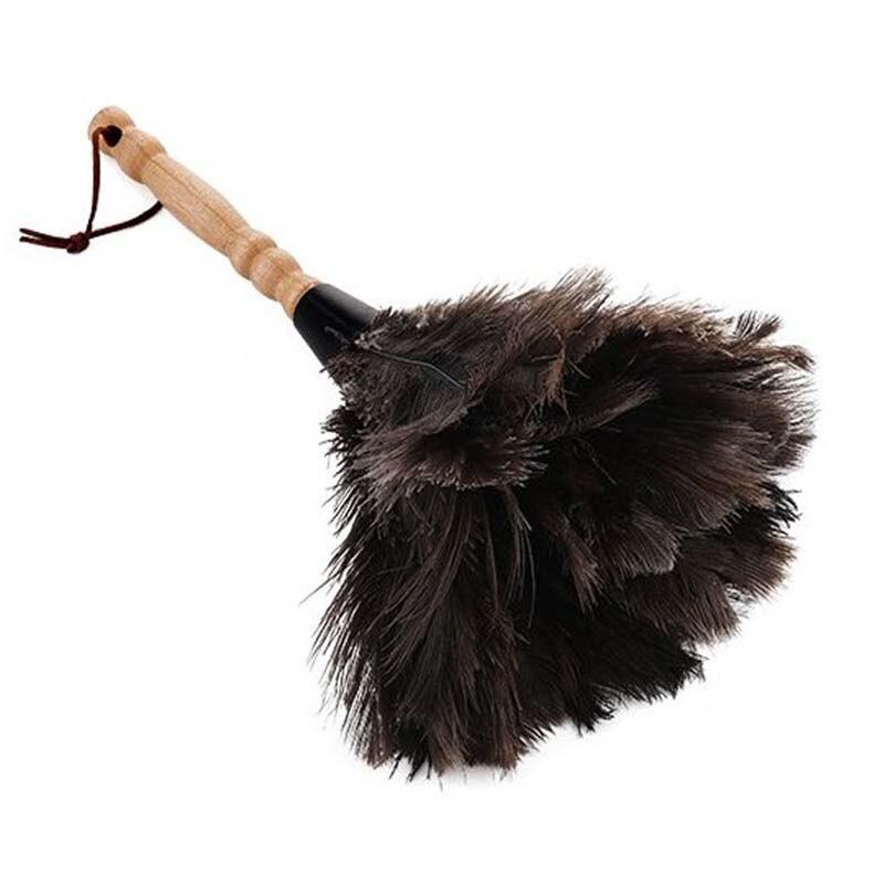 Duster Антистатическая Страусиная щетка из меха и перьев, деревянная ручка инструмента для очистки пыли, бытовой электростатический инструме...