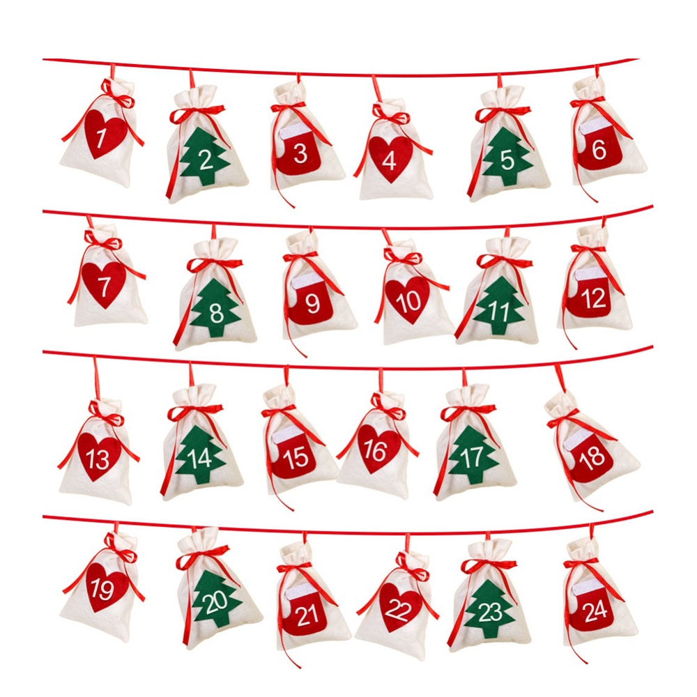 PPYY NEW -Cotton Christmas Advent Calendar Garland 24pcs 11x16cm Hanging Advent Calendar Gift Bags New Year 2019 Family Calend