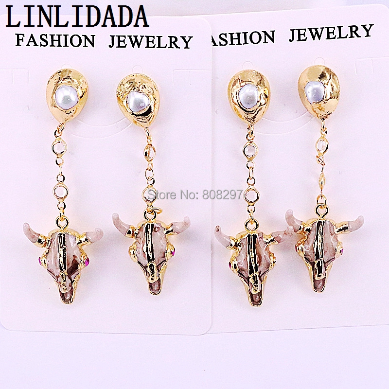 4Pairs Gold color Resin cattle earrings bull head with pearl beads dangle jewelry earrings for women