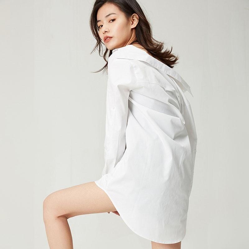 WQJGR 2019 printemps nouvelles 100% coton blanc chemise femme manches longues grande taille Blouse femmes