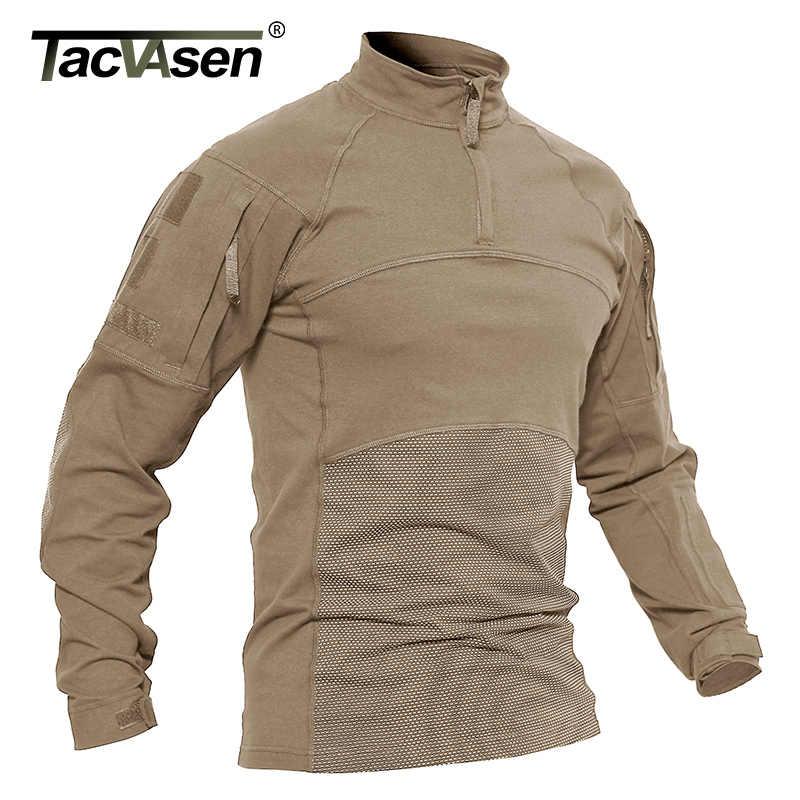 TACVASEN 男性戦術的な Tシャツ軍服綿長袖エアガン軍 Tシャツ男性軽量ハントトップスペイントボール