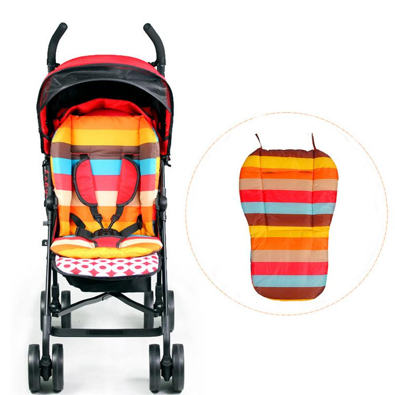 Double-Sided Rainbow Waterproof Baby Stroller Cotton Cushion Colorful Soft Mattresses Carriages Seat Pad Stroller Mat Accessorie