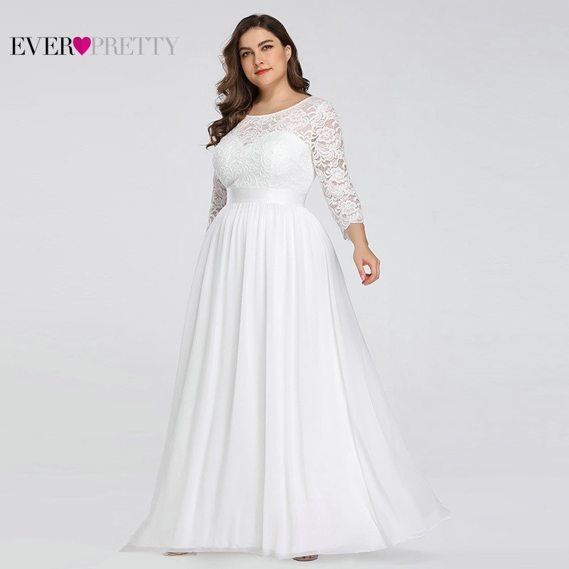 Plus Size Lace Wedding Dresses Long Ever Pretty O-Neck Long Sleeve A-Line Elegant Women Wedding Gowns Vestido De Noiva 2020