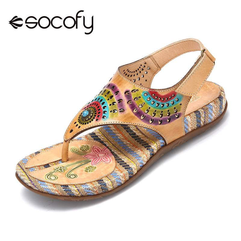 Socofy Bohemian Vintage Style Clip Toes Sandals Women Summer Shoes Woman Beach Flip Flops Printed Leather Sandals Ladies Shoes