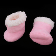 Lovely Pink Plush Boots Shoes For Mellchan Baby Doll 9-11 Inch Reborn Girl Doll Clothing Accessories