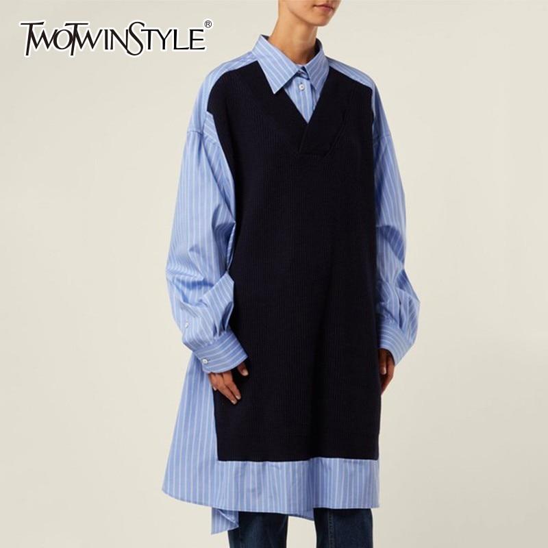 De Longues Manches Casual Twotwinstyle Robes 2019 Patchwork Mode Hit Nouveau Rayé Couleurs Blue Femmes Printemps Surdimensionné Robe Féminine À XxOngOR