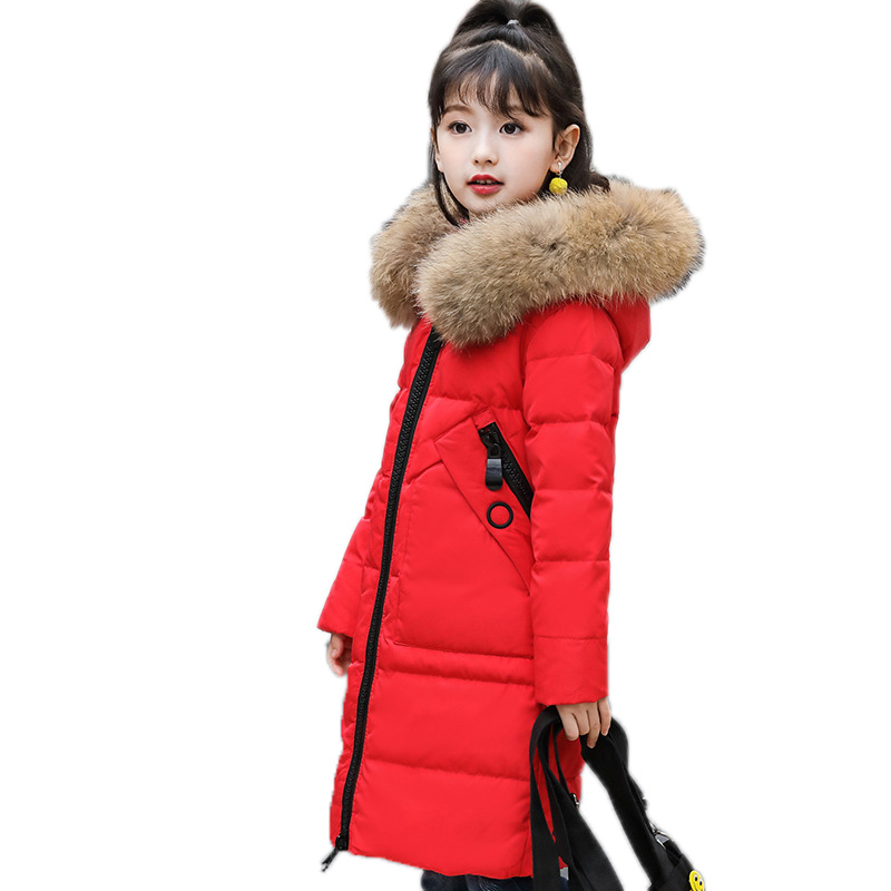 girl winter jackets and coats 2018 kids winter coat solid long setion girls parka coat thicken white duck down children outwear цены онлайн