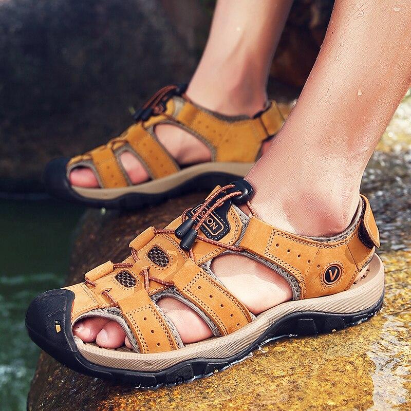 Katesen Männer Leder Strand Sandalen 2019 Sommer Outdoor Schuhe Für Männliche Atmungs Handgemachte Casual Schuhe Slip Auf Fuß Sandalen Home