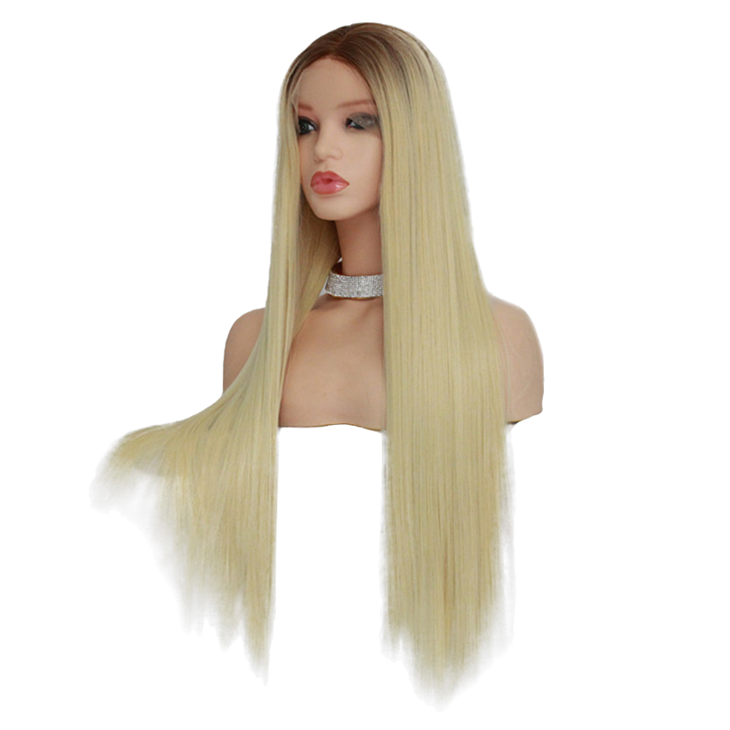 26 inch Synthetic Lace Front Wigs Heat Resistant Full Wig Long Straight Hair Beige trendy fluffy elegant bright honey blonde long wavy heat resistant synthetic women s lace front wig