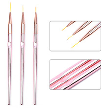 3Pcs Rose Gold Nail Art Line Painting Flower Stripe Brushes Metal Handle Thin Liner Drawing Pen Manicure Tools