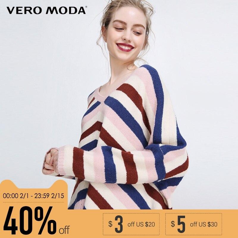 Vero Moda новый простой поездки ребра v-образным вырезом полоски длинные Падение плеча рукав вязать женщин | 318124502