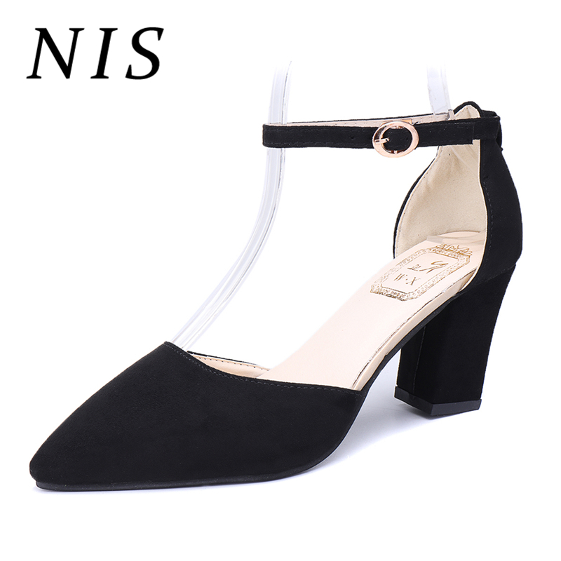NIS Ankle Strap Pumps Women Shoes Woman Spring Summer About 7cm Block High Heels Ladies Shoes Woman Pointed Toe Stiletto HeeledNIS Ankle Strap Pumps Women Shoes Woman Spring Summer About 7cm Block High Heels Ladies Shoes Woman Pointed Toe Stiletto Heeled