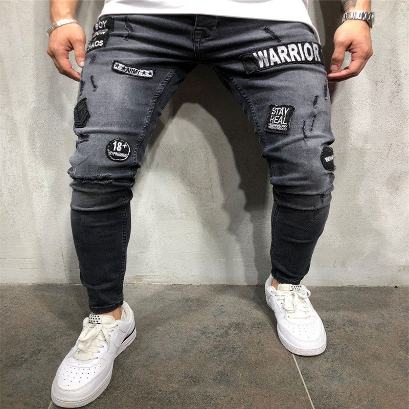 Men's Fashion Skinny Stretch   Jeans   Distressed Ripped WARRIOR   Jeans   Freyed Denim Long Pants Stylish Streetwear Hip Hop Trousers