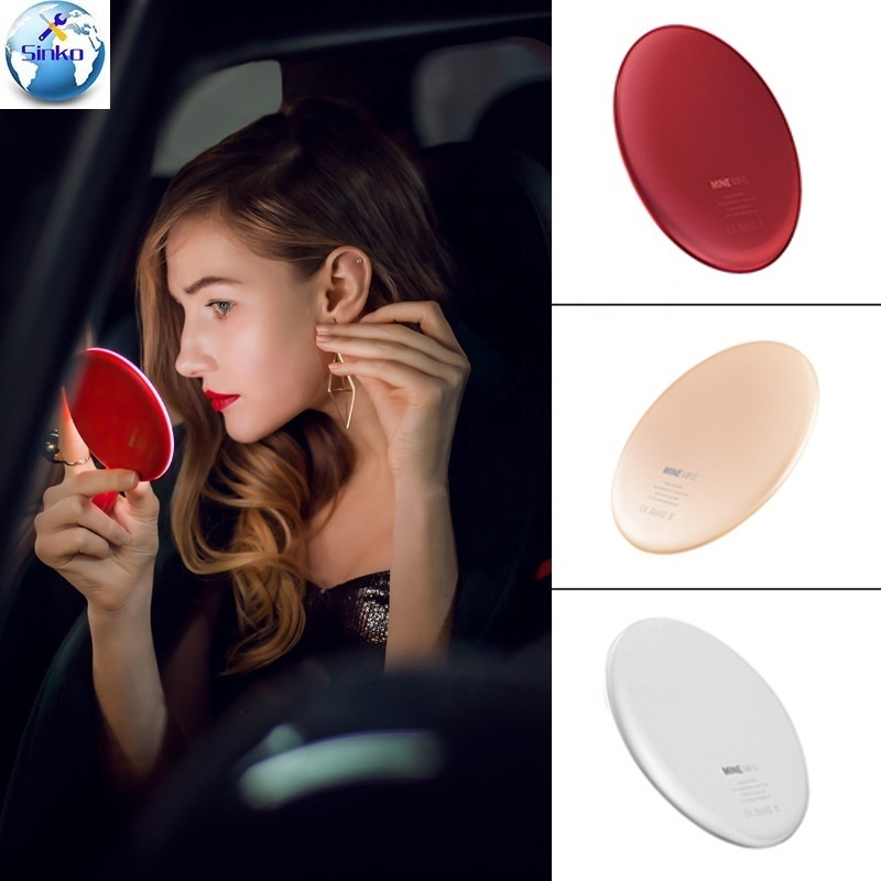 Hand Small Portable Pocket Vanity Lighted Make-up Light Make Up Led Makeup Mirror With Wireless Charger Hand Charging Tool PartsHand Small Portable Pocket Vanity Lighted Make-up Light Make Up Led Makeup Mirror With Wireless Charger Hand Charging Tool Parts