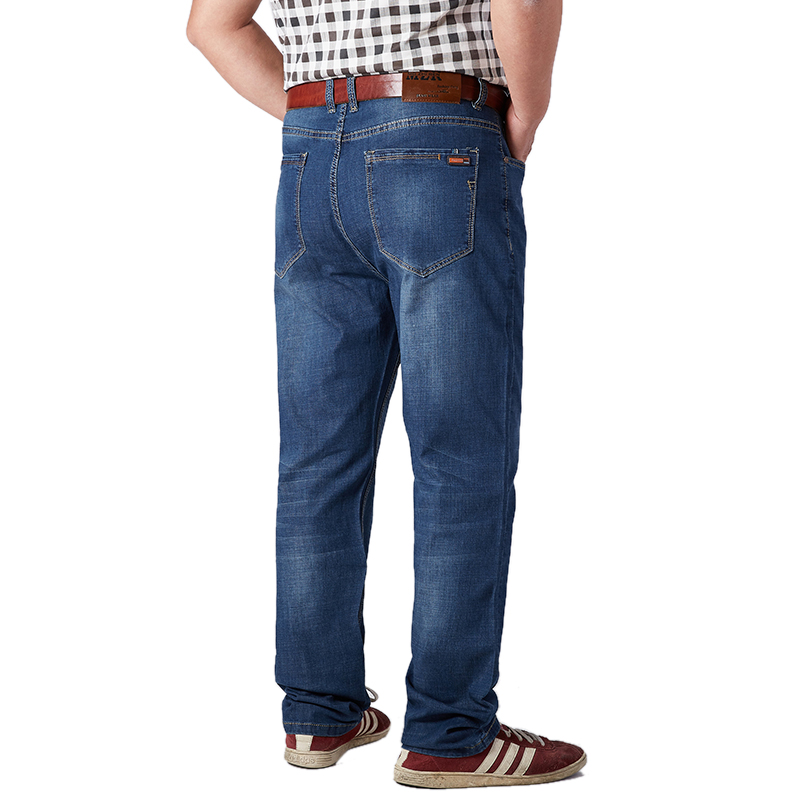 Image 5 - Plus Size Mens Jeans Classic Straight Baggy Male Jeans New Summer Thin Casual Loose Fit Denim Pants King Size Trouser Overalls-in Jeans from Men's Clothing