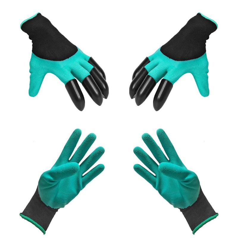 1 Pair Garden Gloves Garden Genie Rubber Gloves With 8 ABS Plastic Fingertips Sharp Claws For Digging Planting New