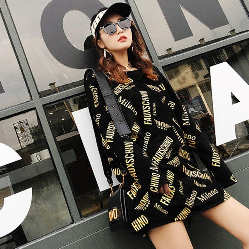 #4836 Spring Summer Long T Shirt Women Casual Loose Long Sleeve Letter Print T Shirt For Woman Harajuku Streetwear Hip Hop S-XXL