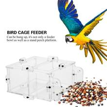 Acrylic Bird Food Feeder Transparent 2 Slot Type Food Container Parrot Bird Cage Accessories(China)