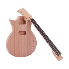 Muslady Unfinished DIY Electric Guitar Kit Mahogany Body & Guitar Neck Rosewood Fingerboard