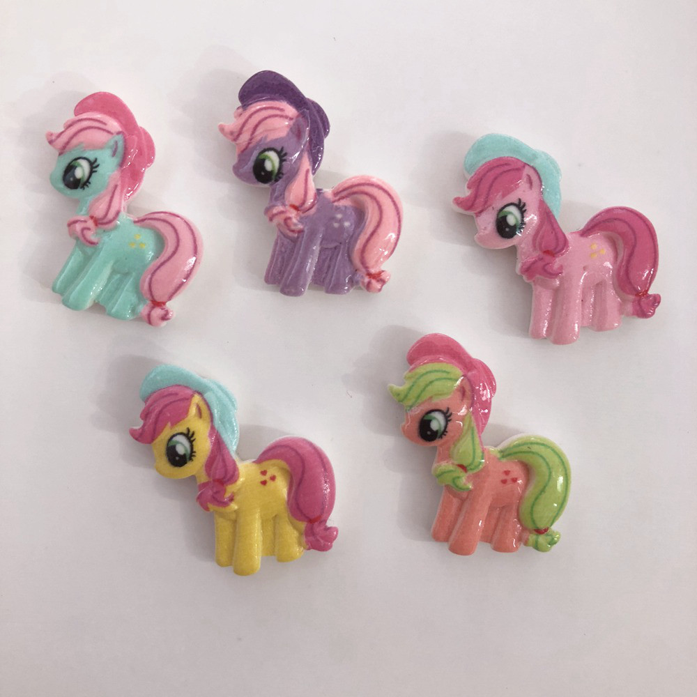 DIY 10pcs 20mm Resin Hand-paint Cute Horse Flatback Stone/Children Scrapbook Crafts R44A