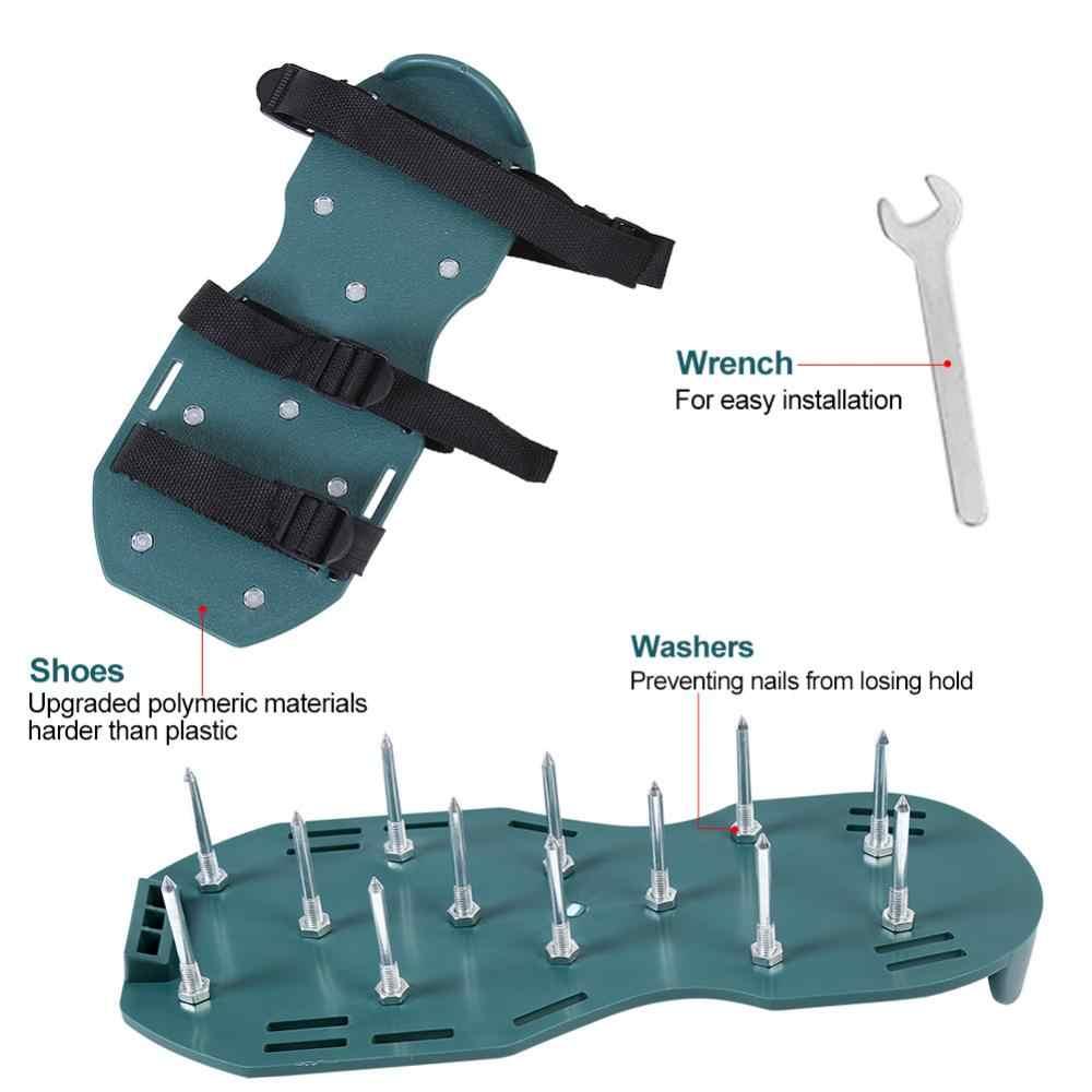 1 par de sandálias de aerador do gramado 3 correias 4 correias de grama resistente sapatos com fivela de plástico ferramenta de jardim opcional