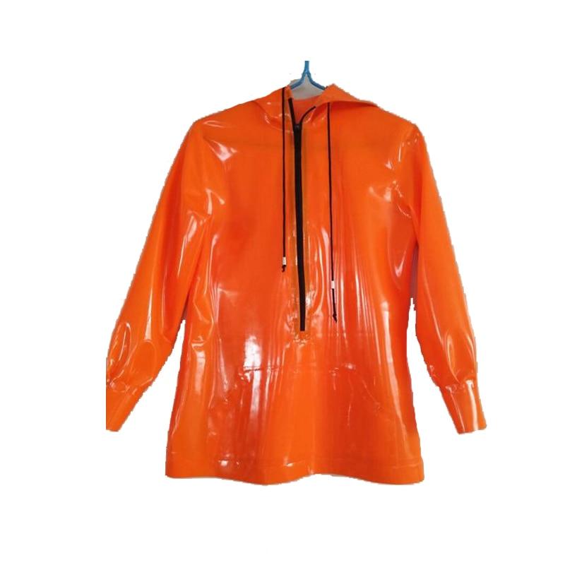 2019 New Latex Rubber Orange Fashion Loose Hoodie Jacket With Black Zipper Size XXS-XXL