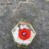 Geometric Ring Pillow Bearer Box Vintage Wedding Decoration Preserve Fresh Flower Glass Holder Ring Boxes Wedding Party Decor