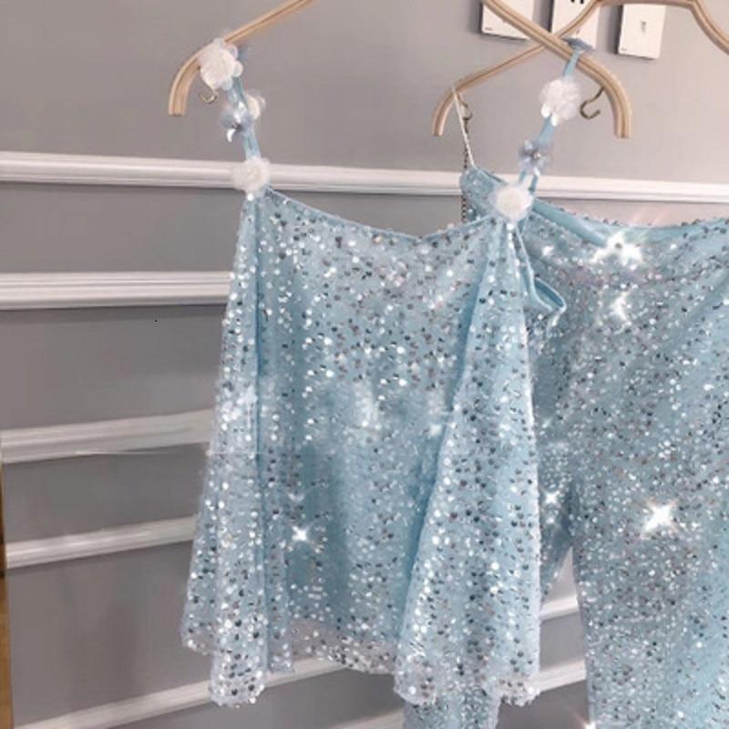 Doux Gilet Slash 2019 Sexy Qualité Pantalon Nouvelle Bleu Cou Pour Fleur Vêtements D'été Supérieure Paillette Femmes Combinaison 5751qw0fnx