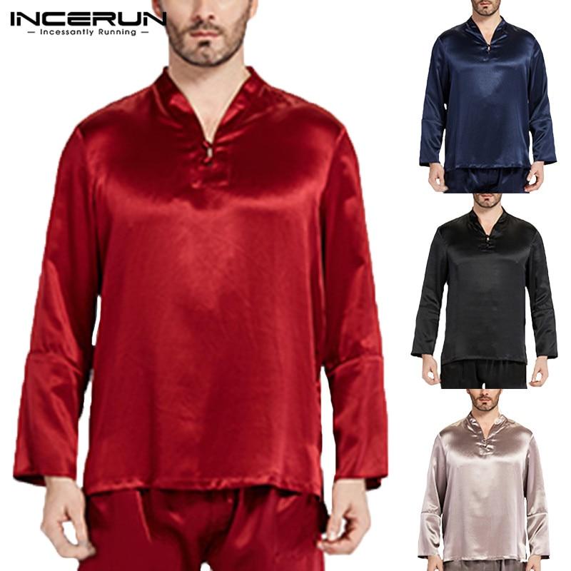 Elegant Satin Silk Mens Pajama Tee Long Sleeve Pullovers Tops Sleepwear Pyajama Loose Soft Solid Pajama 5XL Masculina Clothes