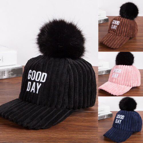 Women Kids Matching Hats Visors Fashion Faux Fox Fur Pom Pom Ball Adjustable Baseball Cap Hat Warm Bonnet High Standard In Quality And Hygiene