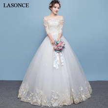 LASONCE Champagne Lace Appliques Ball Gown Wedding Dresses Boat Neck Illusion Half Sleeve Backless Bridal Dress