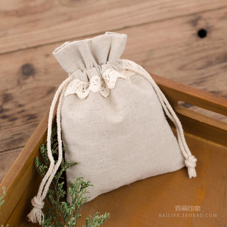 Lace Linen Gift Packaging Pouch 9x12cm 11x15cm Pack Of 100 Makeup  Jewelry Drawstring Bag Party Sack