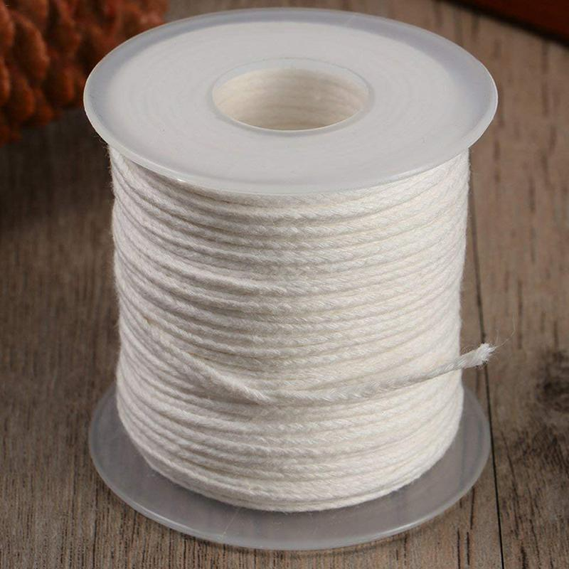 1 Roll 200 Feet 61M White Candle Wick Cotton Candle Woven Wick For Candle DIY And Candle Making