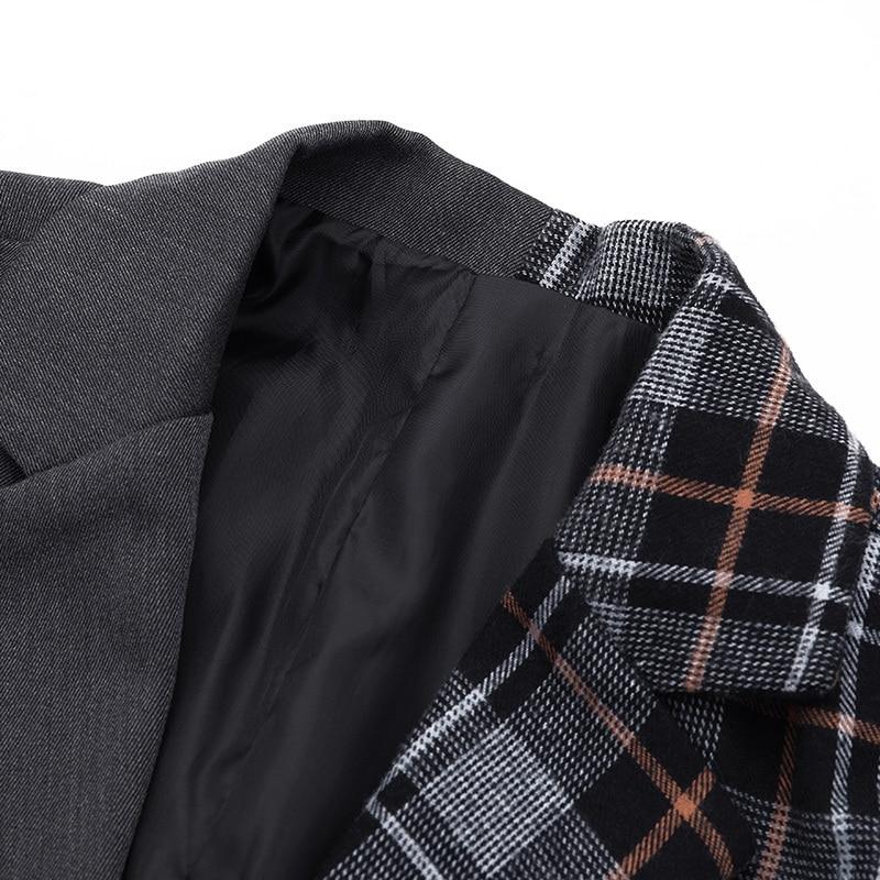 Nouveau Lâche Fendue De Commune Printemps Hiver Côté À Shown Manches As Marée Longues Manteau Noir Jo560 Plaid Revers 2019 Mode Veste Ample Femmes eam A5qz4O