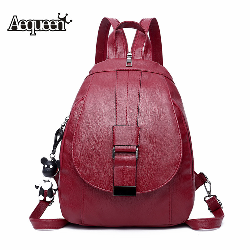Female Black Red Back Pack 2019 Women Leather Backpacks Vintage Female Shoulder Bag Travel Ladies Bagpack Mochilas School Bags
