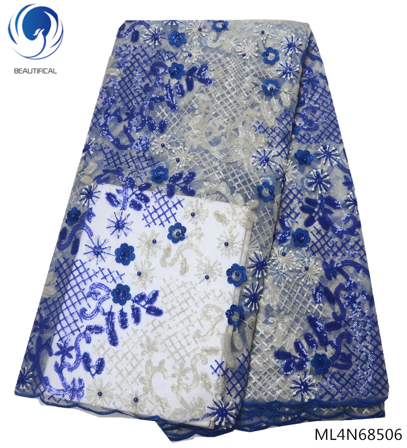 BEAUTIFICAL nigeria lace wedding lace fabric african french lace fabric high quality 2019 with sequins and beads blue ML4N685BEAUTIFICAL nigeria lace wedding lace fabric african french lace fabric high quality 2019 with sequins and beads blue ML4N685