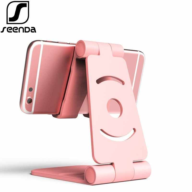 SeenDa Universal Adjustable Mobile Phone Holder For iPhone Huawei Xiaomi Plastic Phone Stand Desk Tablet Metal Stand Desktop