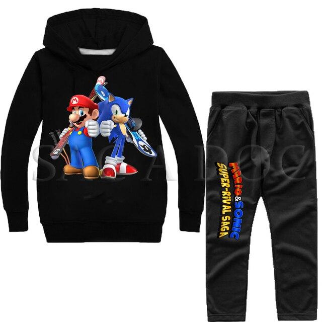 סופר סוניק/מריו ילדים אימונית Chidlren ספורט בגדי סתיו חורף 2 יחידות סט סוודר סלעית חולצות + מכנסיים