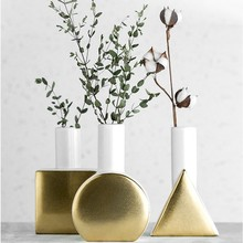 Nordic Modern Geometric Gold Ceramic Vase Creative Vases For Flower Living Room Tabletop Wedding Vase Home Decorative Ornaments nordic modern geometric gold ceramic vase creative vases for flower living room tabletop wedding vase home decorative ornaments