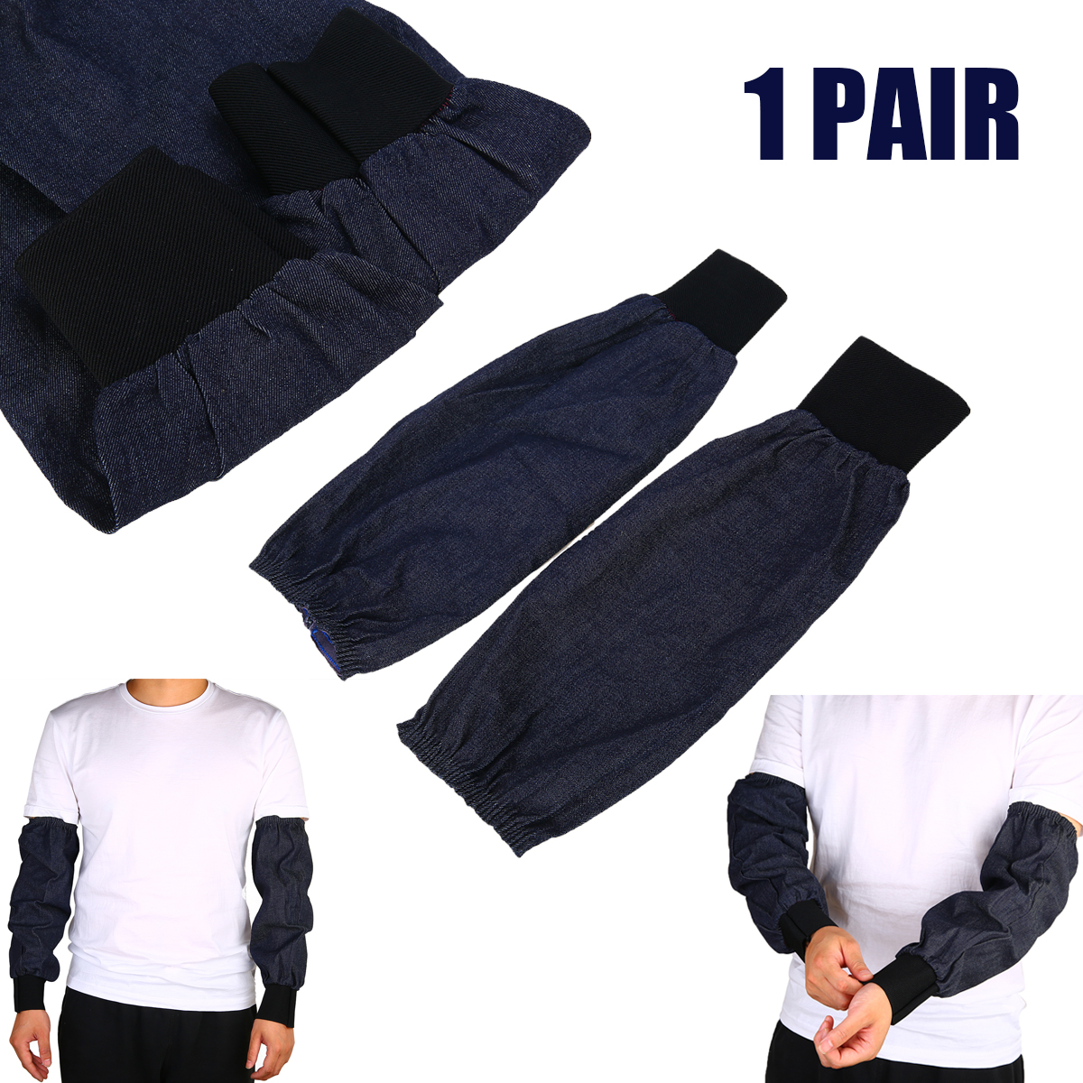 1 Pair Welding Protection Arm Sleeves Denim Working Safety Sleeves Handing Cut Resistant Heat Protect Arm Guard Welding Tools image