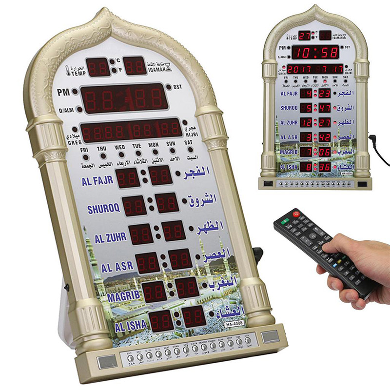 Azan Clock Islamic Pray time Mosque Azan Clocks Islamic wallclock for Most Cities Around the World Muslim-in Wall Clocks from Home & Garden    1