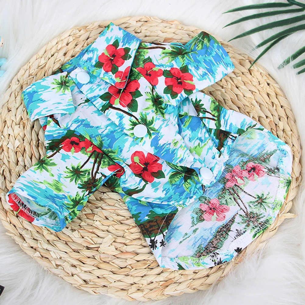 Pet Dog Summer Clothes Hawaiian Floral Print Fancy Style Shirt