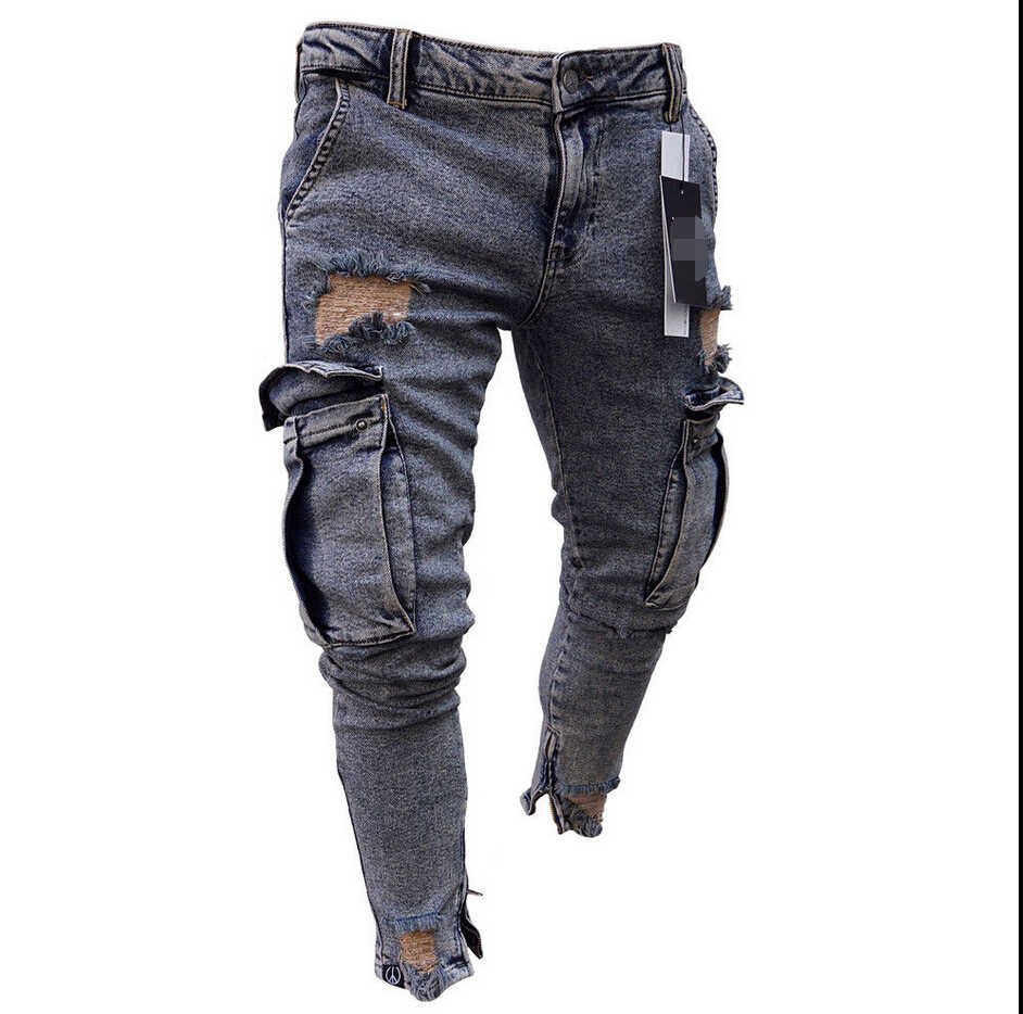 2019 New Fashion Washed Jeans Mens Ripped Skinny Jeans Destroyed Frayed Slim Fit Denim Pocket Pencil Pant Size S-2xl