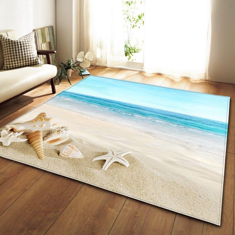 sea world starfish carpet for livingroom bedroom rug coral fleece soft Seaside Hawaii carpet home decoration anti slip mat tapis