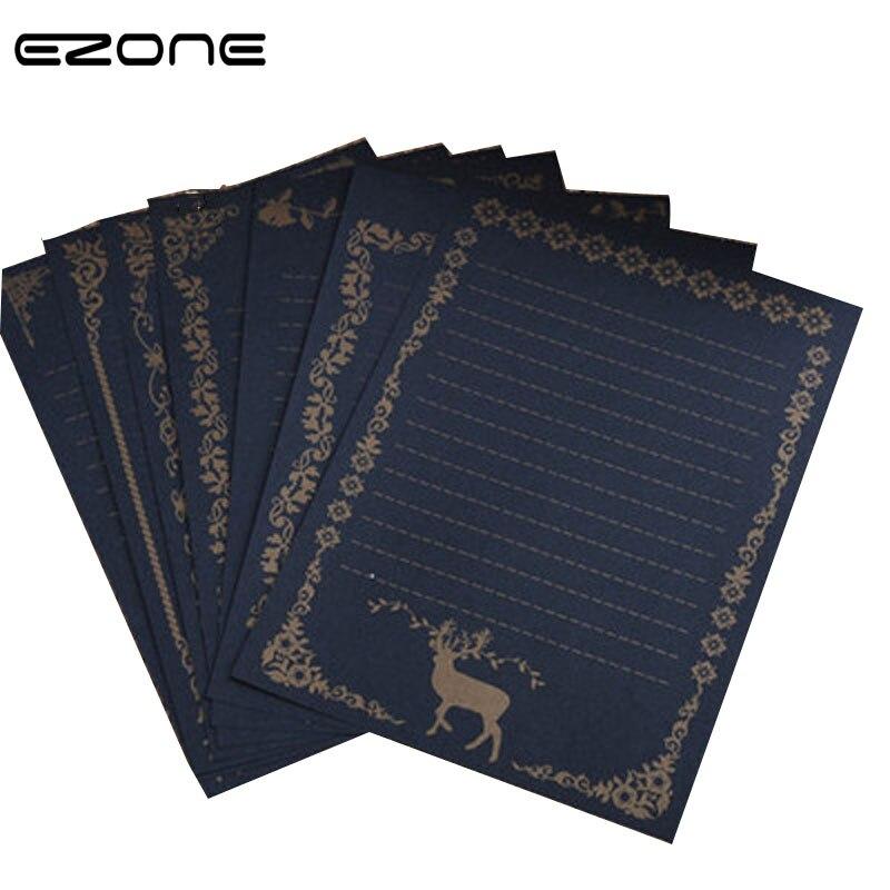 EZONE 8PCS/Set Black Writing Paper Classic Vintage Europe Style Moose Lace Letter Paper Drawing Sketch Pads Letter Paper