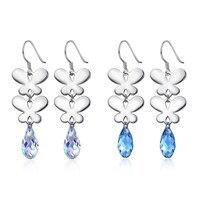 925 Sterling Silver Crystals From Swarovski Long Two Butterfly Dangle Drop Earrings For Women Fine Jewelry