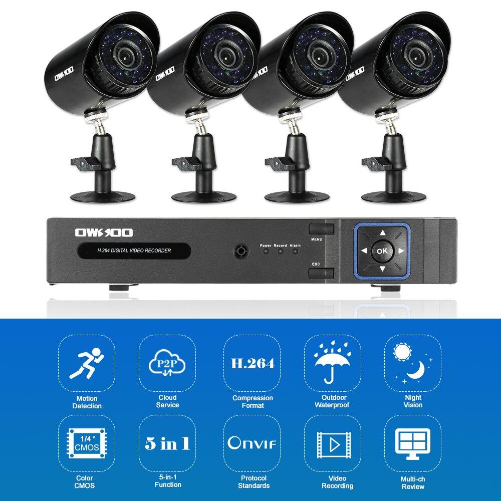 OWSOO 4CH 1080P 5 in 1 Digital Video Recorder 4 720P AHD IR CCTV Camera 4